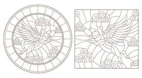 Комплект контура с изображениями свиней летания в небе, кругом и квадратном изображении Стоковые Фотографии RF