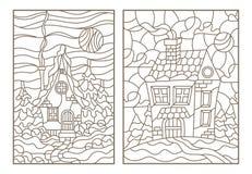 Комплект контура с иллюстрациями витражей с домами в деревне на заднем плане ландшафта зимы, темного c Стоковое фото RF