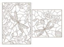 Комплект контура с иллюстрациями в стиле цветного стекла с цветками и dragonflies, темными планами на белой предпосылке иллюстрация вектора