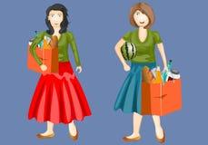 Комплект концепций вектора женщин покупок усмехаясь женщины от супермаркета также вектор иллюстрации притяжки corel Стоковое фото RF