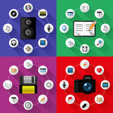 Комплект концепций сети и дела Плоский дизайн Стоковая Фотография