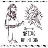 Комплект коренного американца линия снежок иллюстрации предпосылок stripes вектор Стоковое Фото