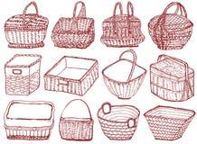 Комплект корзин нарисованных рукой плетеных Стоковая Фотография RF