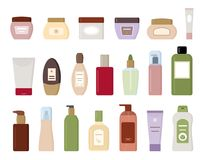Комплект косметических продуктов изолированных на белой предпосылке Стоковые Изображения RF
