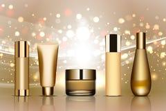 Комплект косметических трубок на белизне Золото и белые цвета Место для вашего textVector Стоковые Фотографии RF