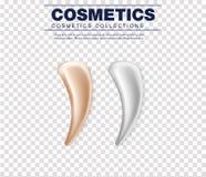 Комплект косметической белой cream текстуры Сливк реалистической кожи косметические, гель или падение пены изолированная на белой иллюстрация штока