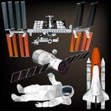 Комплект космоса в низком поли дизайне Иллюстрация вектора