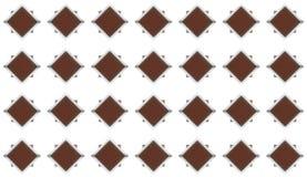 Комплект косоугольников темного коричневого цвета с сияющей рамкой металла и линия картина цемента серая картины grunge на белизн Стоковая Фотография