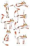 комплект котов шаржа смешной иллюстрация вектора