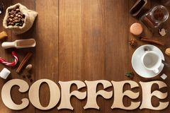 Комплект кофе на древесине Стоковые Фотографии RF