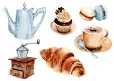 Комплект кофе чертежа акварели иллюстрация штока