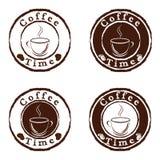 комплект кофе штемпелюет время Стоковые Фото