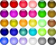 комплект красивейшей кнопки цветастый Бесплатная Иллюстрация