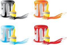 комплект краски щетки банка Стоковые Фотографии RF