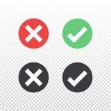 Комплект красного зеленого черного значка контрольной пометки значка круга на прозрачной предпосылке Одобрите и отмените символ д Стоковое фото RF