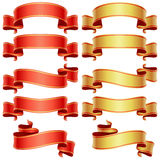 комплект красного цвета знамен золотистый Стоковое Изображение RF