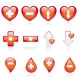 комплект красного цвета иконы медицинский иллюстрация штока