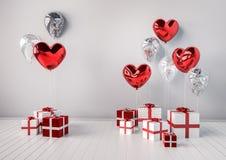 Комплект красного цвета и серебряные лоснистые реалистические воздушные шары 3d в сердце формируют с ручкой Предпосылка дня или д Стоковые Фотографии RF