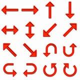 комплект красного цвета стрелок иллюстрация вектора