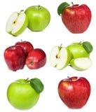 комплект красного цвета яблок зеленый Стоковая Фотография