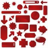 комплект красного цвета ярлыка Стоковое Изображение