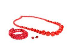 комплект красного цвета jewellery Стоковое Изображение RF