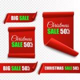 Комплект красных знамен рождества бумажные перечени Стикеры продажи Xmas вектора Стоковые Изображения RF