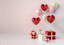 Комплект красных и розовых лоснистых реалистических воздушных шаров 3d в форме сердца с ручкой Предпосылка дня или дня свадьбы `  Стоковые Фото