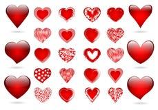 Комплект красных сердец Стоковая Фотография