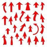 Комплект красных стрелок на белой предпосылке Стоковая Фотография RF
