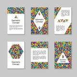 Комплект красочных вертикальных карточек или дизайн знамен с симметричным Стоковое Изображение RF