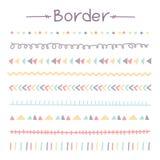 Комплект красочных границ Doodle Стоковые Изображения