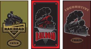 Комплект красочных ретро плакатов с винтажным локомотивом также вектор иллюстрации притяжки corel Стоковое Изображение