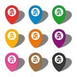 Комплект 9 красочных указателей карты с домашним значком в белом круге иллюстрация штока
