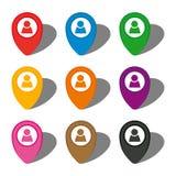 Комплект 9 красочных указателей карты с значком человека в белом круге и с тенью иллюстрация штока