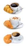 комплект круасанта кофе Стоковое Фото