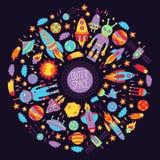 Комплект круга значков doodle космического пространства красочный Стоковая Фотография