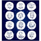 Комплект круглых знаков зодиака иллюстрация штока