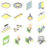 Комплект крытых значков светов в равновеликом взгляде Стоковые Изображения RF