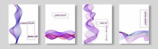 Комплект крышек с фиолетовой волной много покрашенных линий Абстрактные волнистые нашивки на белой изолированной предпосылке бесплатная иллюстрация