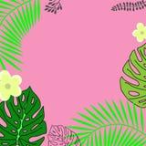 Комплект ладони выходит силуэты изолированный на розовую предпосылку стоковое фото