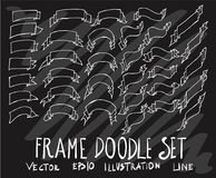 Комплект линии знамени ленты собрания чертежа doodle вектора белой стоковые фотографии rf