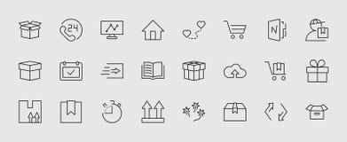 Комплект линии значка вектора доставки Оно содержит символы для того чтобы положить в коробку, домашний и больше Editable движени иллюстрация штока