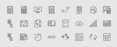 Комплект линии значков вектора вычисления Содержит такие значки как значок калькулятора, карандаш, щелчок, сумка денег, символ пр иллюстрация штока