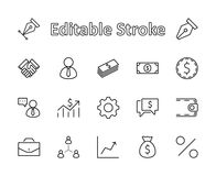 Комплект линии значков вектора дела Оно содержит символы рукопожатия, потребителя, пиктограмм доллара, шестерней, портфеля, сумки иллюстрация штока