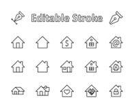 Комплект линии значков вектора дома Содержит символы заключения контракта, сердца, падения воды, огня, денег иллюстрация вектора