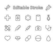Комплект линии значков вектора медицины Оно содержит бортовую аптечку, медсестру, шприц, термометр, пластмассу, пилюльки, сердце иллюстрация штока