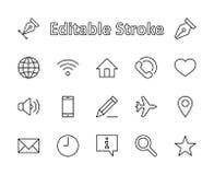 Комплект линии значков вектора сети Содержит такие значки как глобус, Wi-Fi, дом, сердце, телефон, карандаш, таймер, звезда и бол иллюстрация вектора
