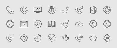 Комплект линии значков вектора телефона Оно содержит символы входящих, общительных, пропущенных звонков, глобального звонка и окр иллюстрация вектора