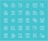 Комплект линии значков 3D Bioprinting иллюстрация вектора